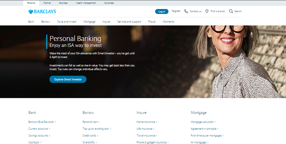Barclays Website screenshot