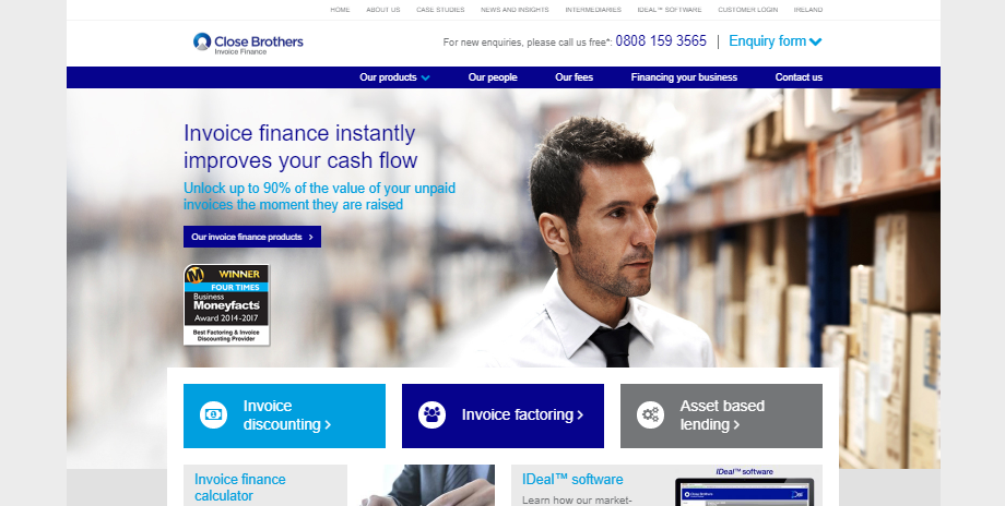 Close Brothers Invoice Finance Website