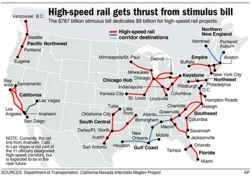 Proposed high speed rail map