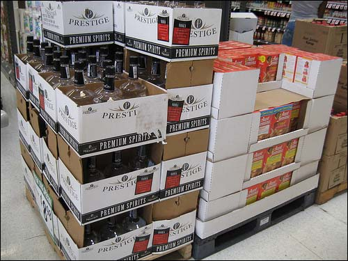 Aisle endcaps are comprised of liters of vodka and Aunt Jemima pancake mix.
