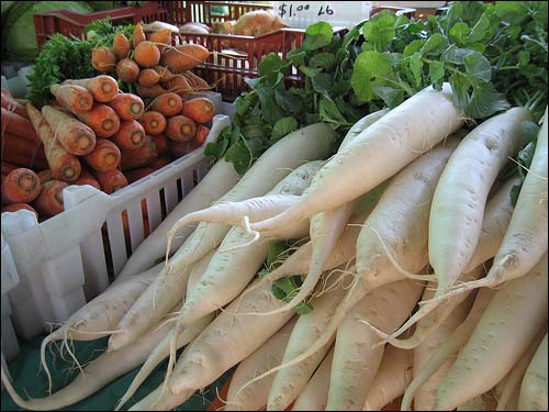 daikon and carrots at the Mission Bay Farmers' Market