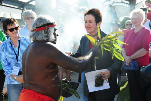 sunken gardens paddington reservoir gardens sydney australia_smoking_ceremony__uncle_max_eulo_and_lord_mayor_clover_moore_mp