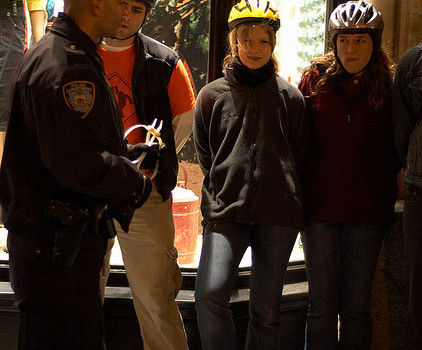 critical mass bicyclists being arrested NYC