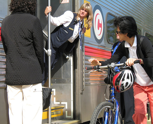 bicyclist caltrain conductor
