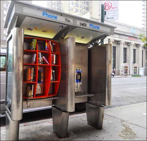 NY phone booth mini library by architect John Locke