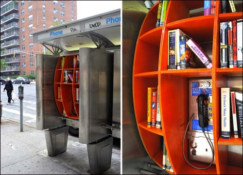 Some NY city phone booths have been turned into mini libraries by Architect John Locke