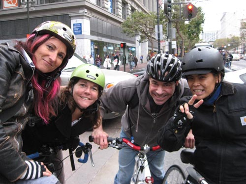 Eliza, Paz and friends at San Francisco's Critical Mass bike ride.