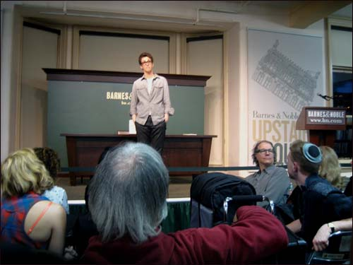 Rachel Maddow promoting her book Drift in New York in 2012