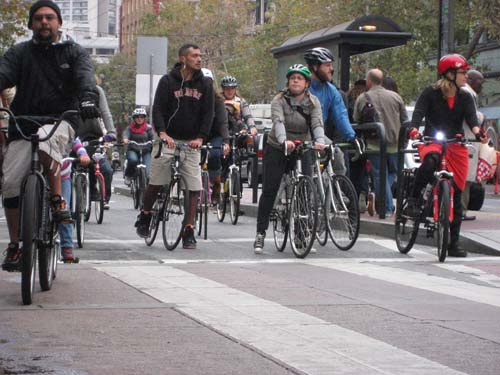 bicyclists on Market Street