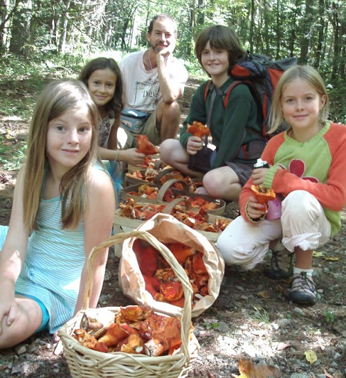 Alan Muskat with his lobster mushroom gang.