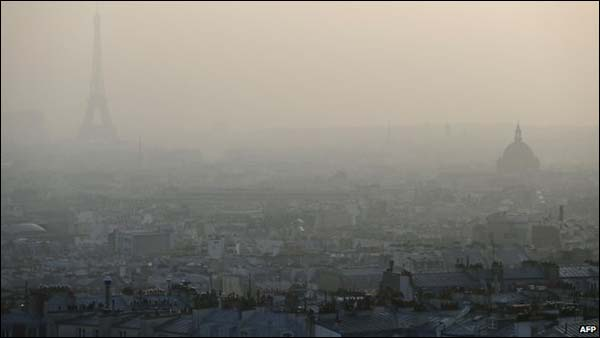 Paris obscured by smog