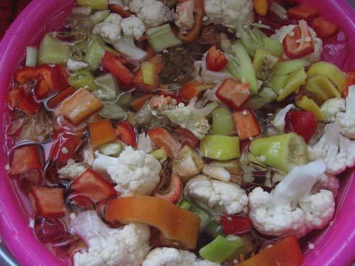 vegetables on ice