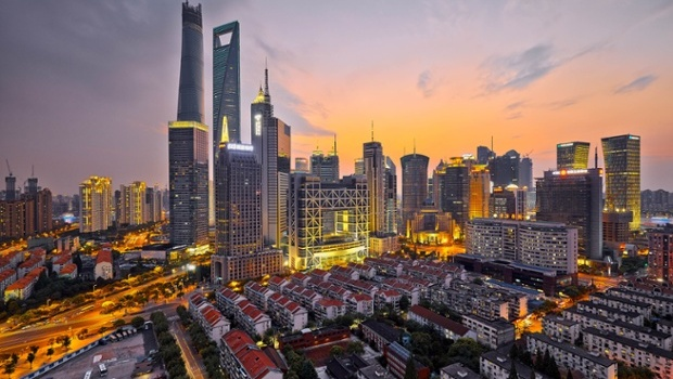 Evening skyline and cityscape of downtown Shanghai, China - 2014