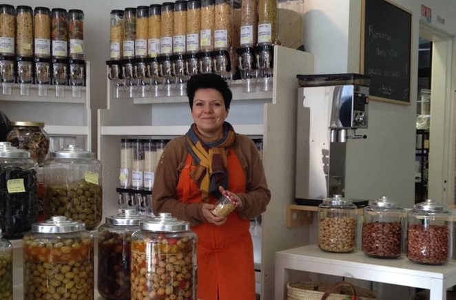 Alice Bigorgne at her Day By Day zero waste grocery store in Lille, France
